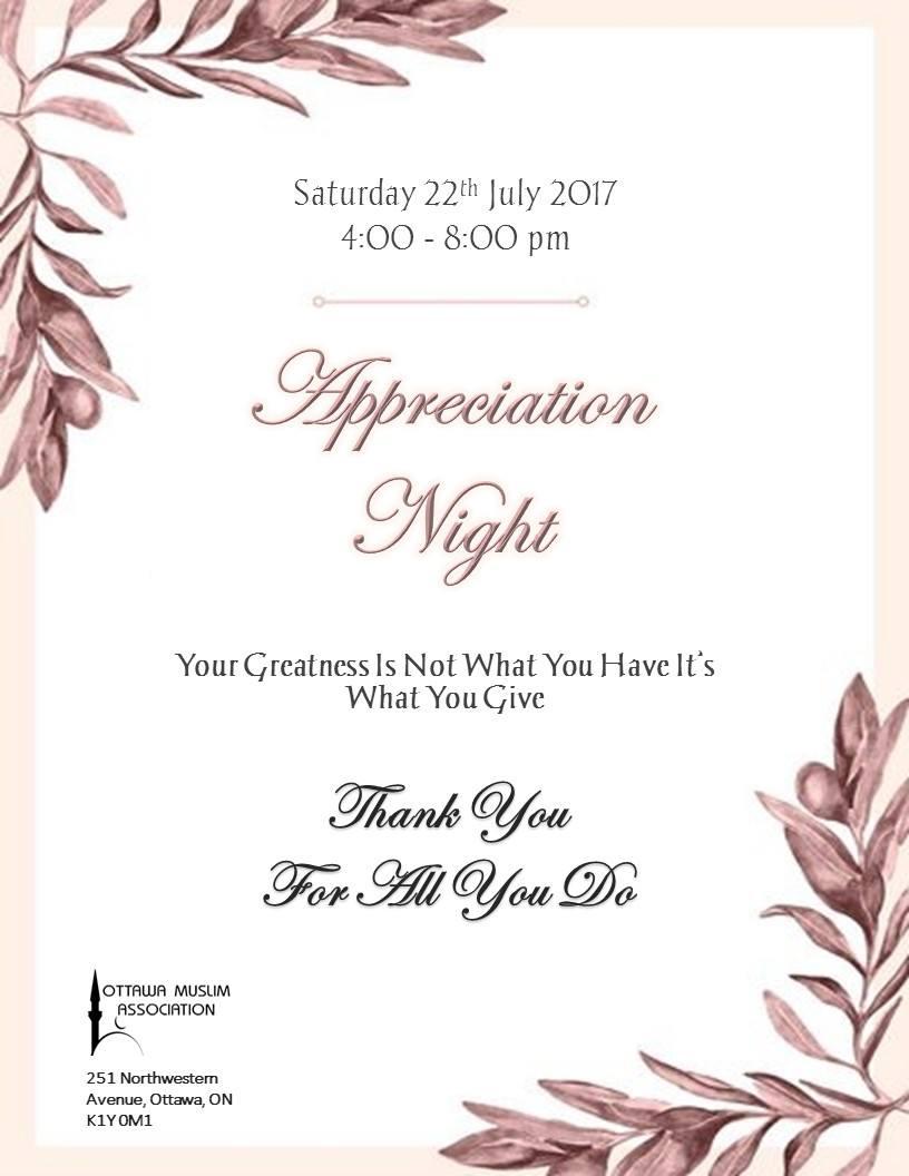 OMA Appreciation Night – Ottawa Muslim Association