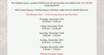2nd Annual Multi-Faith Blood Drive Dec 21-26