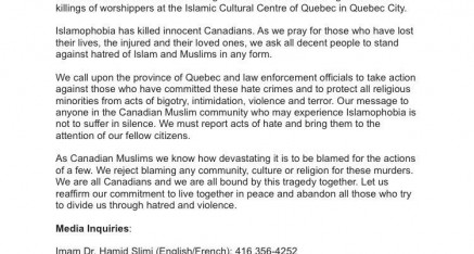 A Call Against Hate !!! Canadian Council of Imams