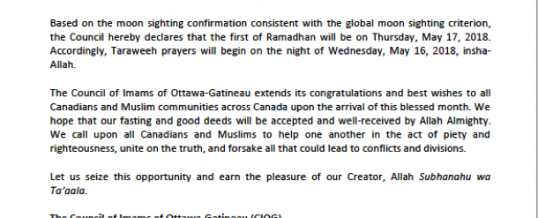 Council of Imams of Ottawa-Gatineau Announcement